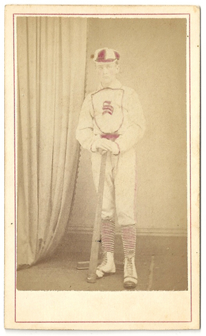 Beautiful Late 1860s Or Early 1870s Colorized Baseball Player Carte De Visite Photograph This Photo Shows A Adorned In Very Nice Bib Front