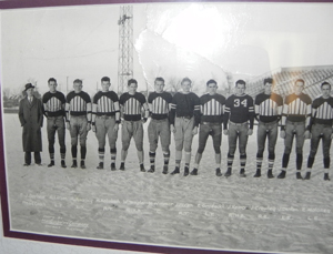 e99e304949d 1934 University of Detroit Freshman Football Team Panoramic Photograph with  players wearing great Friction Strip style jerseys.