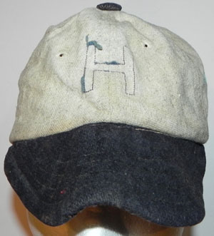 9524219f7aa Circa 1920 s Short Billed Baseball Cap. This cap features an H on its front  that has lost the felt portion