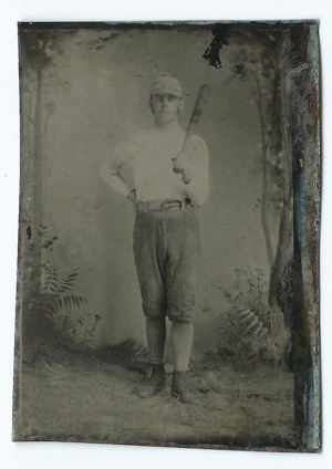 19th Century Album Page With 4 Baseball Related Tintypes The Contains Sixth Plate Measuring 2 1 By 3 Inches